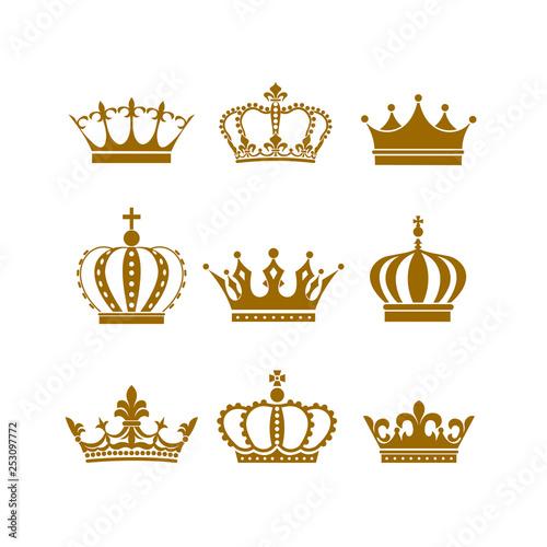 Crown icon set heraldic symbol vector illustration. Billede på lærred