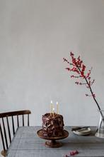 Chocolate Birthday Cake On Table