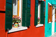 Leinwanddruck Bild Exterior of colorful houses of Burano Island in Venice