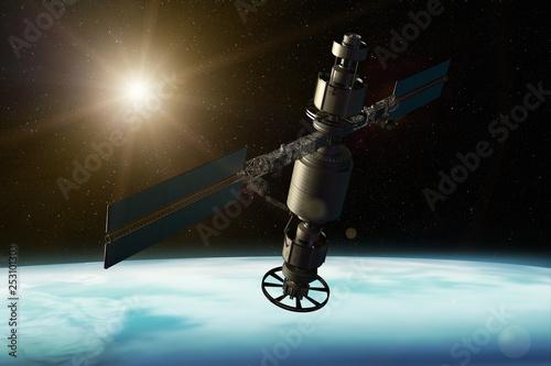 Cuadros en Lienzo 3D rendering of a satellite orbiting the earth