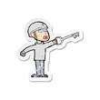 retro distressed sticker of a cartoon security guy with key