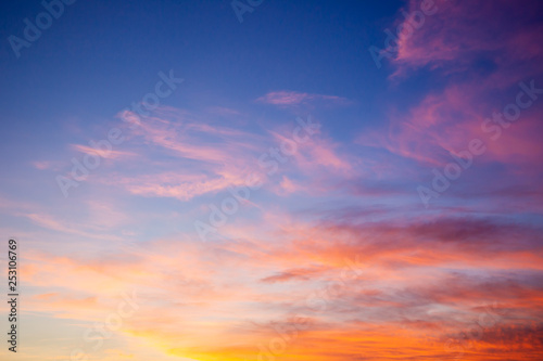 Fototapeta Beautiful sky during the sun rise background.