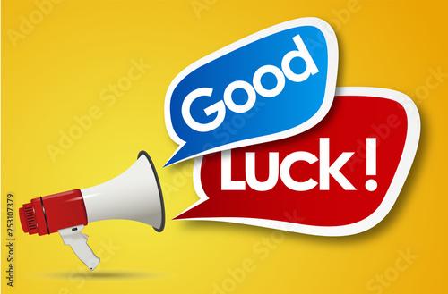 Stampa su Tela  Good luck word and megaphone