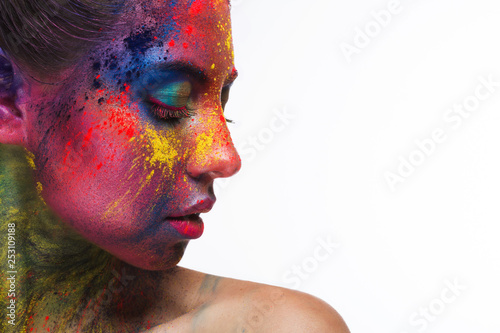 Fotografie, Obraz  Beautiful woman portrait with bright art make-up