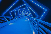 The High Trestle Trail Bridge In Boone, Iowa During The Night