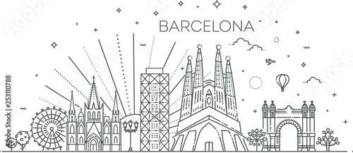 Photo Banner of Barcelona city skyline in flat line trendy style