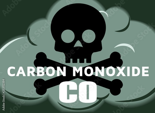 Carbon Monoxide CO Poisonous Gas Industrial Chemical Cloud Safety Symbol Illustr Tapéta, Fotótapéta