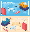 Travel banners in Isometric style. Travel and tourism concept. Vector