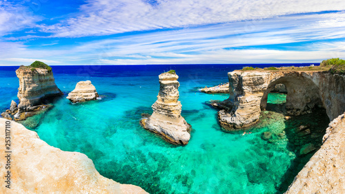 Best beaches and sea of Italy . Puglia - Torre di sant Andrea, natural rock formations