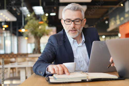 Businessman pointing to agenda in informal meeting - 253118337