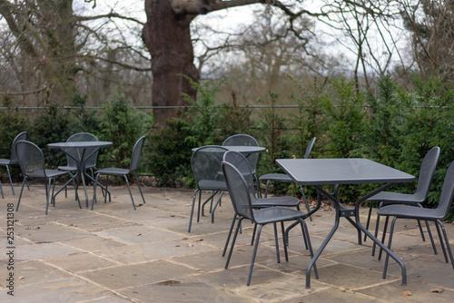 Staande foto Marokko table and chairs in garden