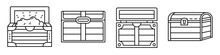 Dower Chest Icons Set. Outline...