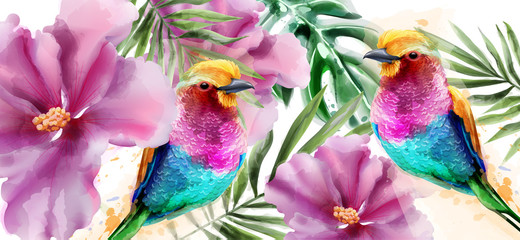 NaklejkaColorful birds and flowers watercolor Vector. Tropic card backgrounds