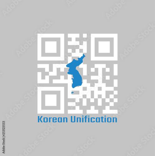 Fotografie, Obraz  QR code set the color of white and blue South Korea  Korean Peninsula