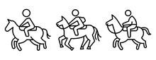 Horseback Riding Icons Set. Outline Set Of Horseback Riding Vector Icons For Web Design Isolated On White Background