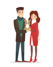 Vector Illustration Of Couple Of Young People With A Pet. Handsome Husband And Pretty Wife With A Cute Dog, Pet Concept In Flat Cartoon Style.