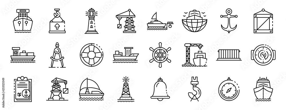 Fototapeta Marine port icons set. Outline set of marine port vector icons for web design isolated on white background
