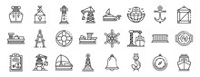 Marine Port Icons Set. Outline...