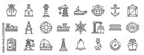 Fototapeta Marine port icons set. Outline set of marine port vector icons for web design isolated on white background obraz