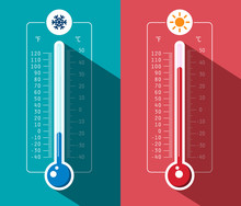 Cold And Hot Thermometer Icons. Vector Celsius And Fahrenheit Scales Meteorology Symbols.