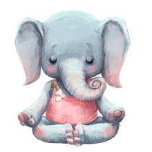 Cute Elephant Makes Yoga