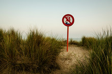 Beach Sign Forbids Swimming
