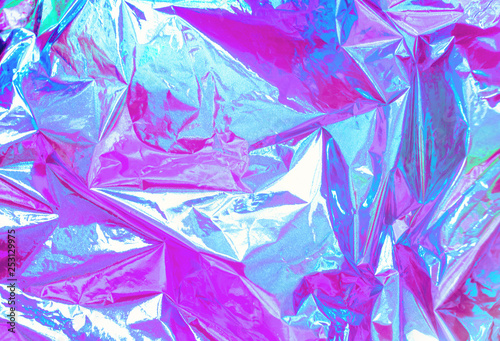Stampa su Tela Abstract Modern bright colored holographic background in 80s style