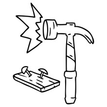Line Drawing Doodle Of A Hammer And Nails