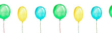 Multicolored Balloons, Seamless Patternn, Watercolor Illustration Isolated