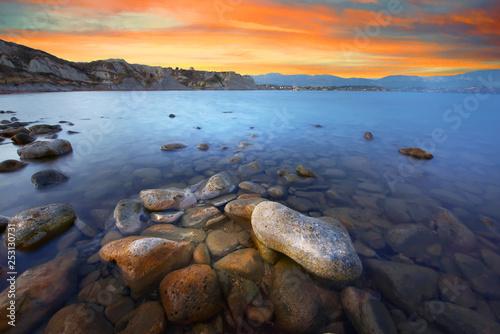 Foto auf AluDibond Schokobraun Greece islands landscape at sunset