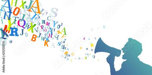 megafono, manifestazione, comunicazione, comunicare Poster Mural XXL