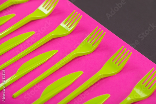 Fotografie, Obraz  Colorful set of plastic table ware isolated on background