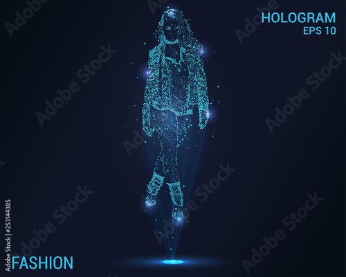 Fashion hologram. Digital and technological fashion background. Futuristic fashion design. Wall mural