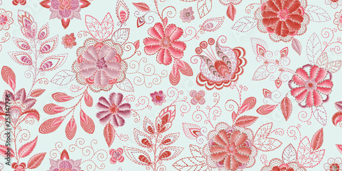 Foto auf AluDibond Boho-Stil Embroidery seamless pattern with beautiful flowers. Vector handmade floral ornament. Embroidery for fashion products. Elegant tiled design, best for print fabric or papper and more.