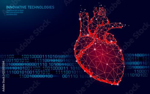 Fotografía Healthy human heart beats 3d medicine model low poly