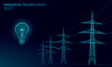 Low Poly High Voltage Power Line Idea Bulb. Electricity Supply Industry Pylons Outlines On Dark Night Blue Sky. Innovation Electrical Technology Solution Banner Template Vector Illustration