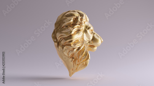 Fotografía  Gold Adult Male Lion Bust Sculpture Front 3d illustration 3d render