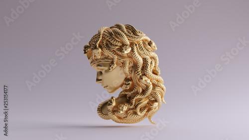Stampa su Tela Antique Gold Medusa Bas Relief 3d illustration 3d render