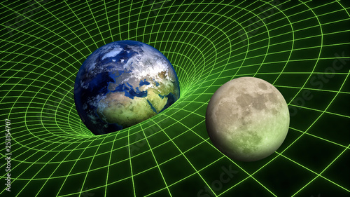 Gravity Field bend spacetime relativity Earth Moon Planets Fototapet