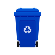 Bin, Recycle Plastic Blue Wheelie Bin For Waste Isolated On White Background, Blue Bin With Recycle Waste Symbol, Front View Of Recycle Wheelie Bin Blue Color For Garbage Waste