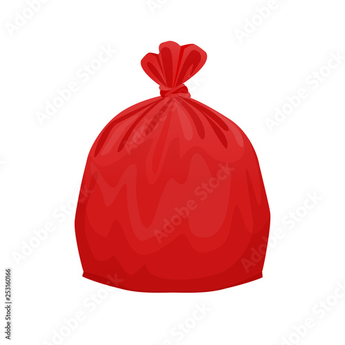 bag plastic waste red isolated on white background, red