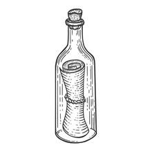 Message In Bottle Sketch Engra...