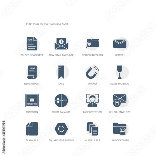 simple set of icons such as unlock folder, multiple file