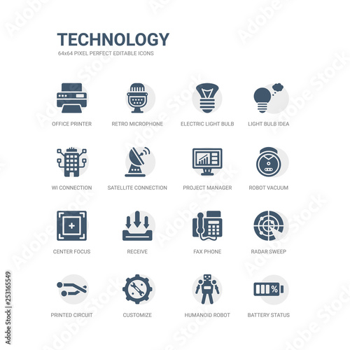 simple set of icons such as battery status, humanoid robot