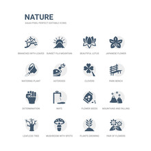 Simple Set Of Icons Such As Pair Of Flowers, Plants Growing, Mushroom With Spots, Leafless Tree, Mountains And Falling Snowflakes, Flower Seeds, Wate, Determination, Park Bench, Clovers. Related