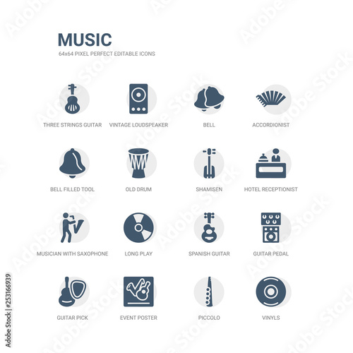 simple set of icons such as vinyls, piccolo, event poster, guitar