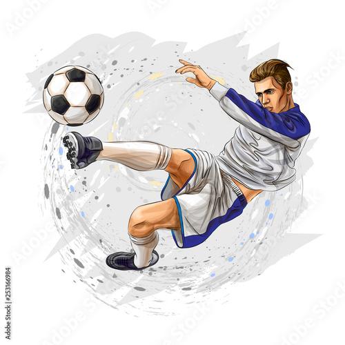 Fotografia Soccer player kicks the ball