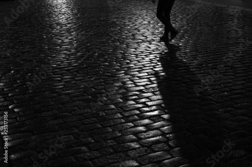 Staande foto Oost Europa Silhouette on Cobblestone Path in Warsaw, Poland at Night