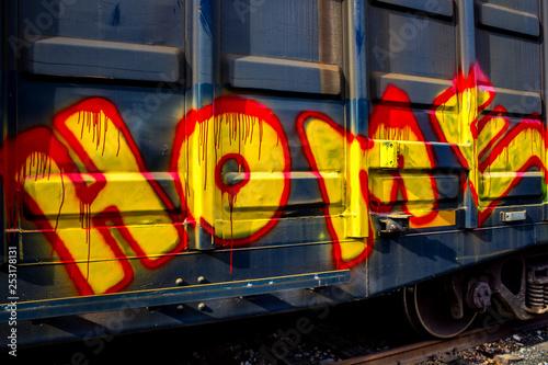 Fotografie, Obraz  Graffiti on boxcar
