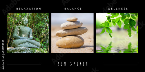 Spa zen theme photo collage composed of different images Wallpaper Mural